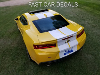 rear of yellow 2018 Camaro Rally Stripes TURBO RALLY 2016 2017 2018