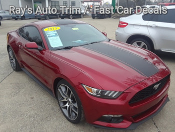 front angle of red Ford Mustang Wide Center Vinyl Graphics MEDIAN 2015 2016 2017