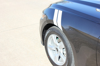 front angle of Mustang Fender Stripes 3M 2015-2018 DOUBLE BAR kit | 812-725-1410