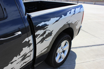 close up view of Vinyl Decals for Dodge Ram Truck Bed RAGE RAM 2009-2017 2018