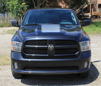 front of black Dodge Ram 1500 Hood Stripes RAM RAGE HOOD 3M 2009-2017 2018