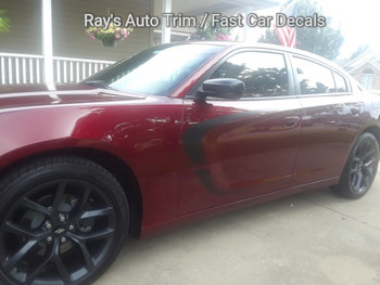 side of burgundy SCALLOP COMBO 15 : Dodge Charger C Hood Decals and Side Door Stripe Decals fits 2015-2020