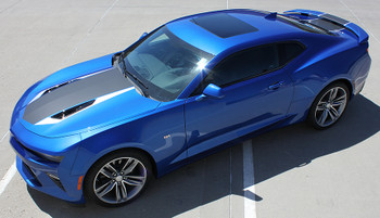 driver side view 2016 Chevy Camaro Racing Stripes HERITAGE center rally stripes