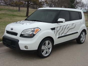 front angle Kia Soul Side Hood and Hatchback Graphics SOULCAT 2010-2018