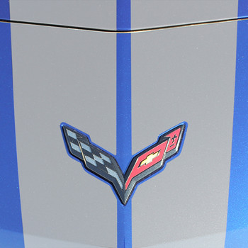 close up hood Chevy Corvette Rally Stripes C7 RALLY 2014-2018 2019