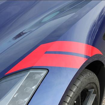 close up of blue 2018 Chevy Corvette Fender Stripes HASHMARK 2014-2019