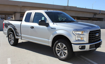 side of silver 2020 Ford F150 Side Graphics Kit TORN 2015-2021