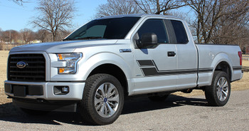 front angle 2018 Ford F150 Side Decal Stripes ELIMINATOR 2015-2021