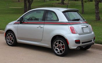 side of silver Fiat 500 GUCCI Stripe Graphics 2012 2013 2014 2015 2016 2017 2018 2019