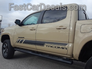 profile of tan Toyota Tacoma Side Decals CORE 2015-2020