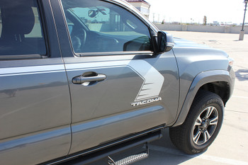 close up door of 2018 Toyota Tacoma Side Stripes STORM 2015-2020