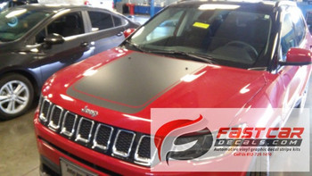 front of NEW! Jeep Compass Hood Stripes BEARING HOOD DECALS 2017-2020