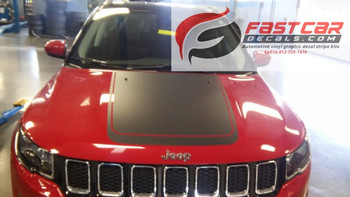 front of red NEW! Jeep Compass Hood Stripes BEARING HOOD DECALS 2017-2021