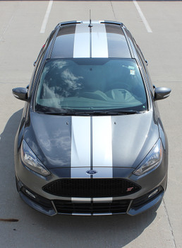 front high view of Ford Focus ST Stripes TARGET FOCUS RALLY 2015-2019