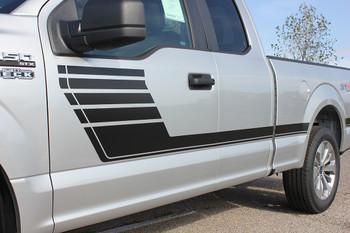 door of silver 2018 Ford F150 Side Vinyl Graphics Decals SPEEDWAY 2015-2020