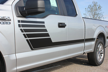 side of silver 2020 Ford F150 Truck Pinstripes SPEEDWAY 2015-2021