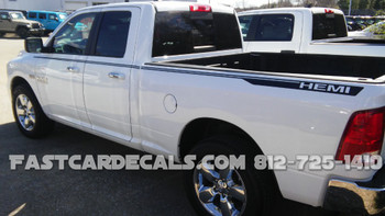 side angle of 2018 Ram 1500 Decals HUSTLE 2009-2015 2016 2017 2018 (2019-2021 Classic)