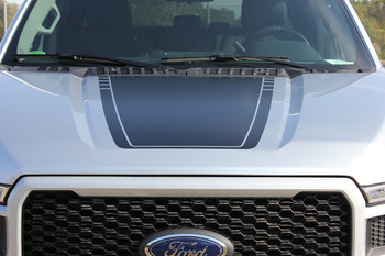 hood view of silver 2017 F150 Hood Decal SPEEDWAY HOOD 2015-2019 2020