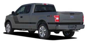 rear angle of 2020 Ford F150 Bed Side Stripes LEADFOOT 2015-2021