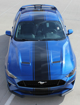 top of 2021-2018 Ford Mustang Racing Stripe Center Decals HYPER RALLY