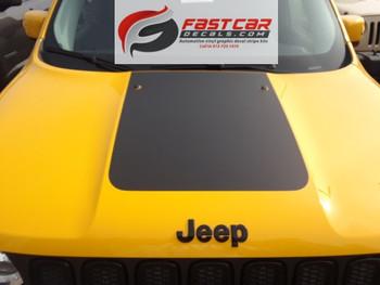 front of yellow Jeep Renegade Trailhawk Hood Trim Kit RENEGADE HOOD 2014-2021