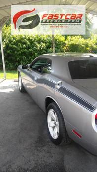 rear of 2018 Dodge Challenger Stripes Matte Black CLASSIC TRACK 2008-2021