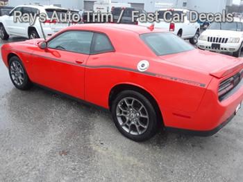 side angle of orange 2017 Dodge Challenger Side Decals SXT SIDE KIT 2011-2020