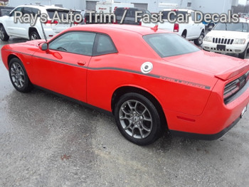 side angle of orange R/T Dodge Challenger Factory Stripe style SXT SIDE KIT 2011-2021