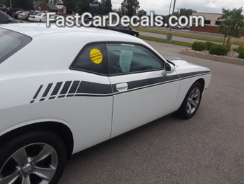 rear of white 2018 Dodge Challenger Stripes DUEL 15 2015-2021