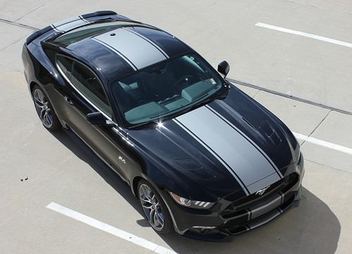 top view of 2016 Ford Mustang Vinyl Stripes CONTENDER 2015-2017