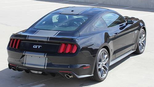 rear angle of 2016 Ford Mustang Vinyl Stripes CONTENDER 2015-2017