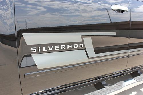 close up of door 2017 Chevy Silverado Black Side Stripes SHADOW 2013-2018 | FCD