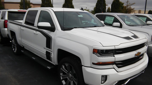 """side of white FLOW : 2018 2017 2016 Chevy Silverado """"Special Edition Rally"""" Hood and Side Door Body Hockey Accent Vinyl Graphic Stripe"""