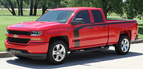 "side of red FLOW : 2018 2017 2016 Chevy Silverado ""Special Edition Rally"" Hood and Side Door Body Hockey Accent Vinyl Graphic Stripe"