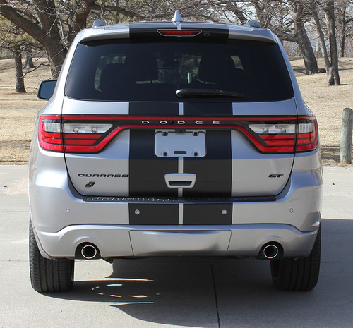 rear view of NEW! GT, SRT, RT Dodge DURANGO RALLY Racing Stripes 2014-2020