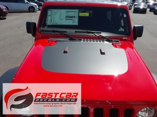 front of red 2019 Jeep Wrangler JL Hood Stripes SPORT HOOD 2018-2021
