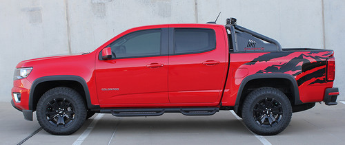 profile of red GMC Canyon Side Stripe Decals ANTERO 2015-2021