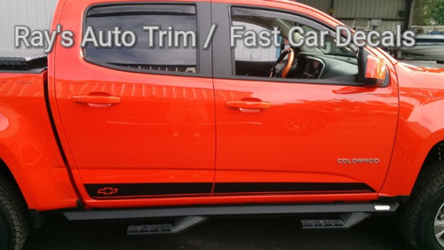 side of orange 2020 GMC Canyon Side Stripes RAMPART 2015-2021