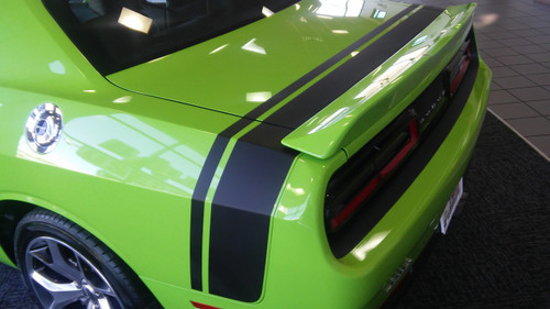 rear of green Rear Stripes for Dodge Challenger RT TAIL BAND 2015-2021