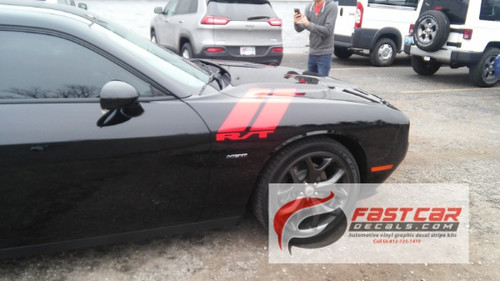 side of black 2017 Dodge Challenger Decals DOUBLE BAR 2008-2021