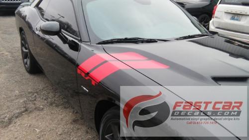 front of black 2017 Dodge Challenger Decals DOUBLE BAR 2008-2021