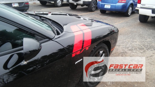 side angle of 2017 Dodge Challenger Decals DOUBLE BAR 2008-2021