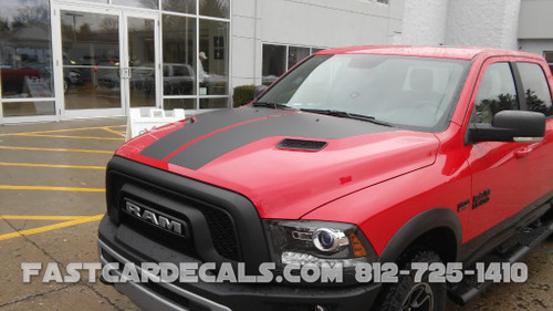 front view of red 2015 Dodge Ram Hood Decals HEMI HOOD 2009-2015 2016 2017 2018