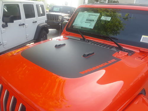 front of orange 2019 Jeep Wrangler Hood Graphics SPORT HOOD 2018-2021