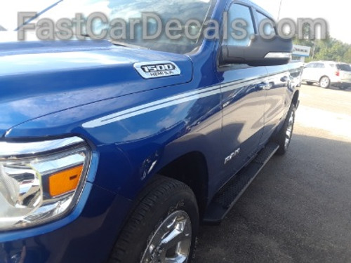front angle of 2019 Ram 1500 Stripes RAM EDGE SIDE KIT 2019 2020 2021