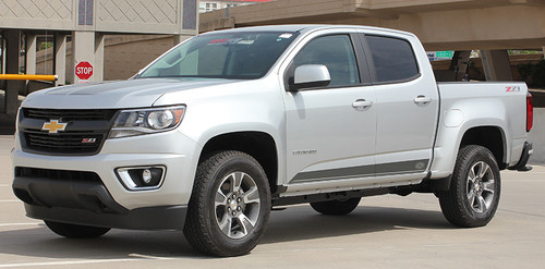side of silver Chevy Colorado Decals RAMPART 2015-2021