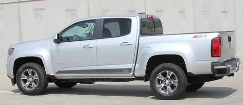 side view of silver 2020 Chevy Colorado Decals RAMPART 2015-2021