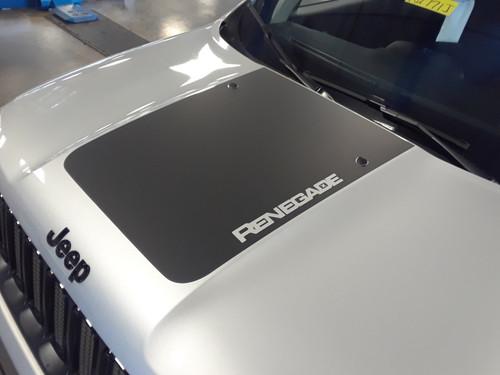 front hood of silver 2019 Jeep Renegade Decals RENEGADE HOOD 2014-2021