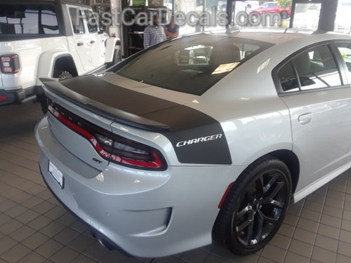 side angle of silver 2020 Dodge Charger Trunk Stripes Daytona SRT 392 2015-2021