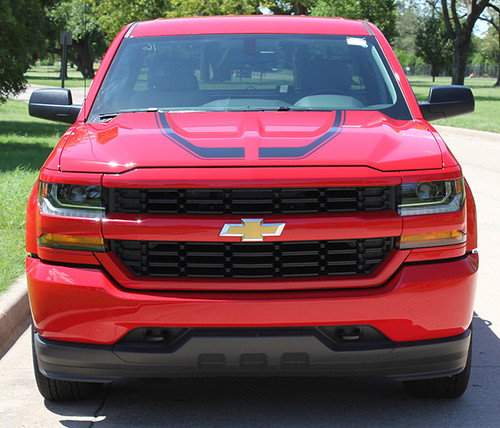 front hood of red Hood Decals for Chevy Silverado FLOW HOOD 2016 2017 2018